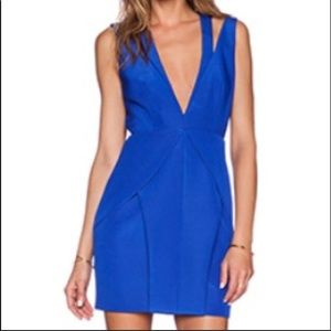 Stylestalker Cobalt Blue Deep-V Dress